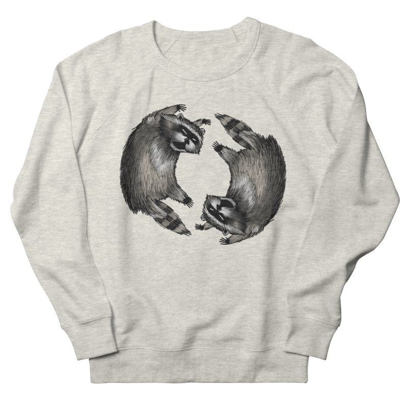 Raccoon Fighting in Women's French Terry Sweatshirt Heather Oatmeal by Bezzikapa's Artist Shop