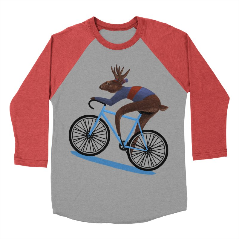 'Tis the Season to be Cycling! in Men's Baseball Triblend Longsleeve T-Shirt Chili Red Sleeves by Bezzikapa's Artist Shop