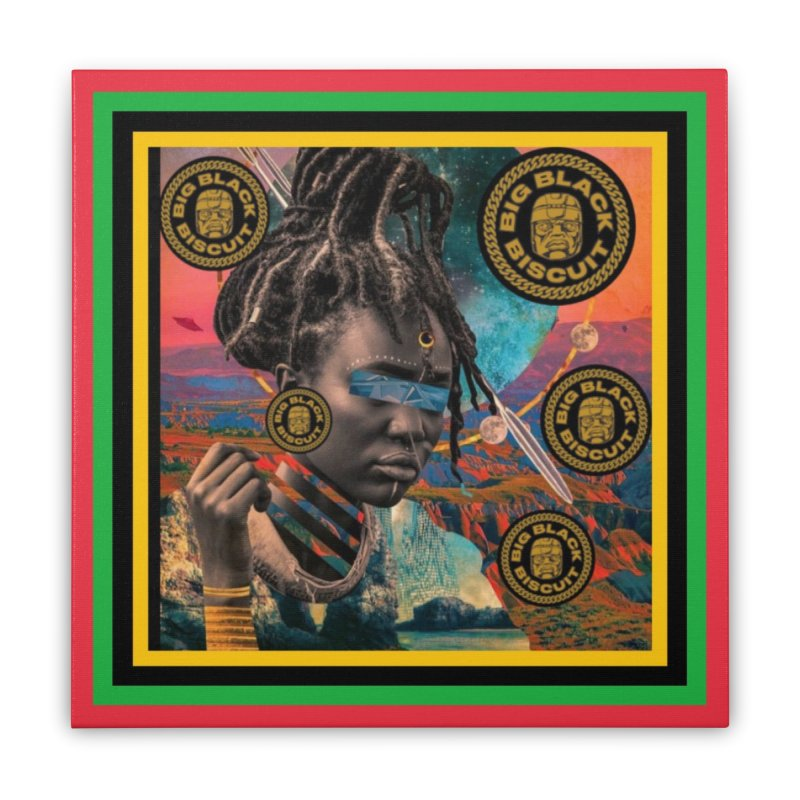 Rasta Queen Home Stretched Canvas by BigBlackBiscuit's Artist Shop