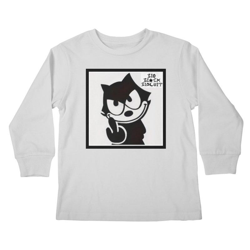 Roguish  Feline Kids Longsleeve T-Shirt by BigBlackBiscuit's Artist Shop