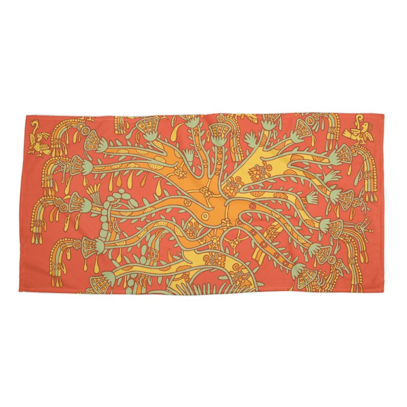 Teotihuacan Tree Accessories Beach Towel by Big Red Hair's Artist Shop