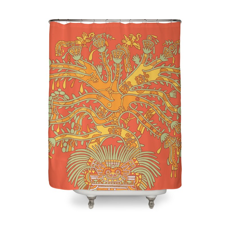 Teotihuacan Tree Home Shower Curtain by Big Red Hair's Artist Shop