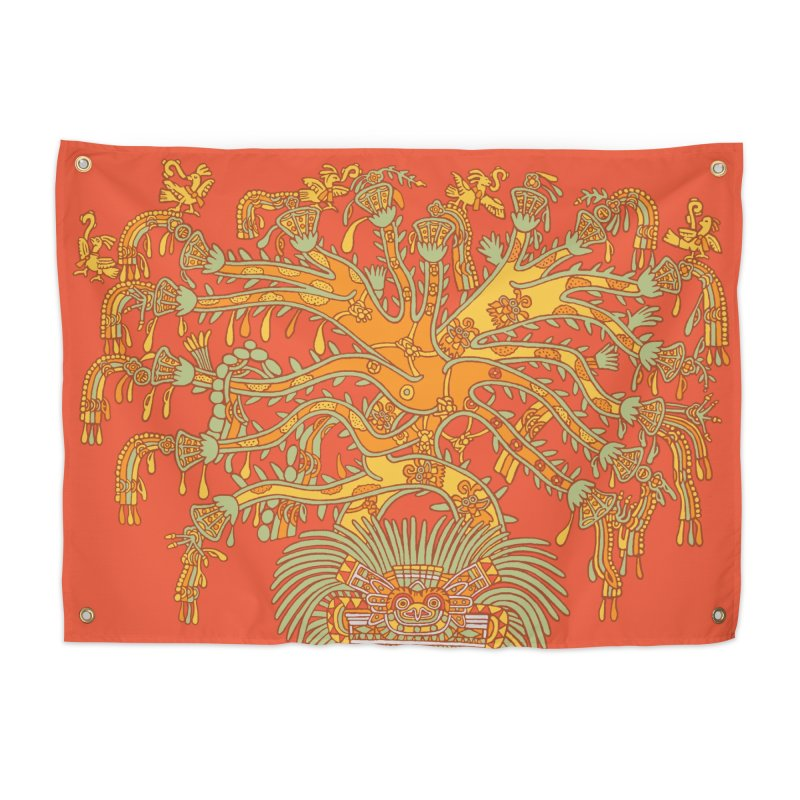 Teotihuacan Tree Home Tapestry by Big Red Hair's Artist Shop