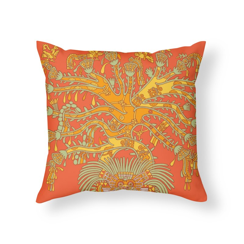 Teotihuacan Tree Home Throw Pillow by Big Red Hair's Artist Shop