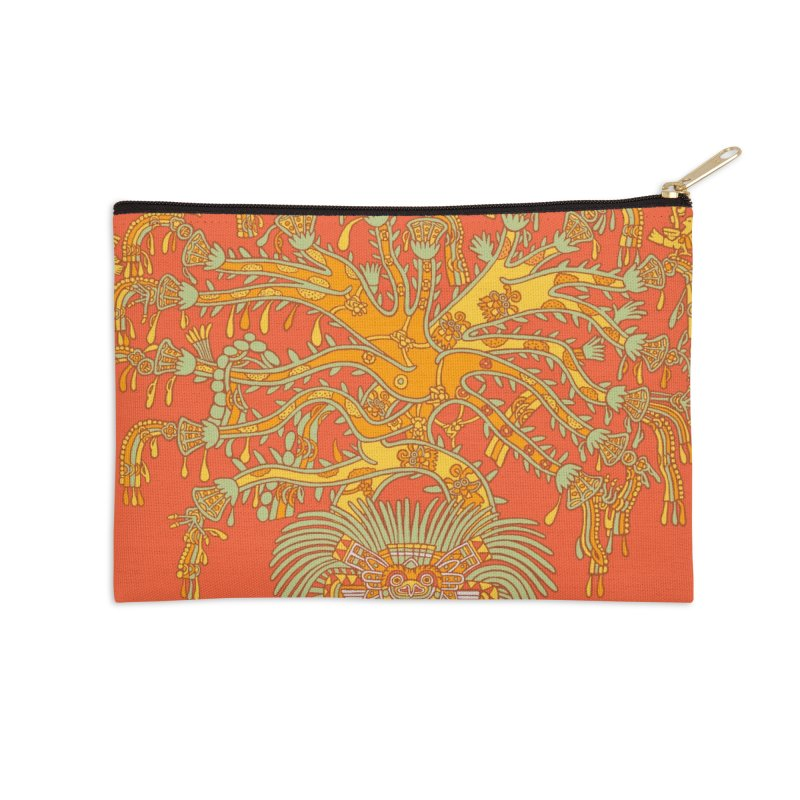 Teotihuacan Tree Accessories Zip Pouch by Big Red Hair's Artist Shop
