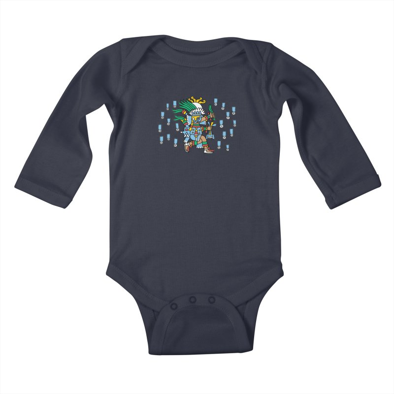 Tlaloc, God of Rain Kids Baby Longsleeve Bodysuit by Big Red Hair's Artist Shop