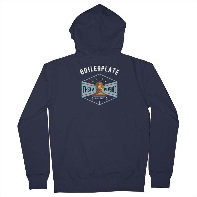 Boilerplate: Tesla Powered Since 1893 Women's French Terry Zip-Up Hoody by Big Red Hair's Artist Shop