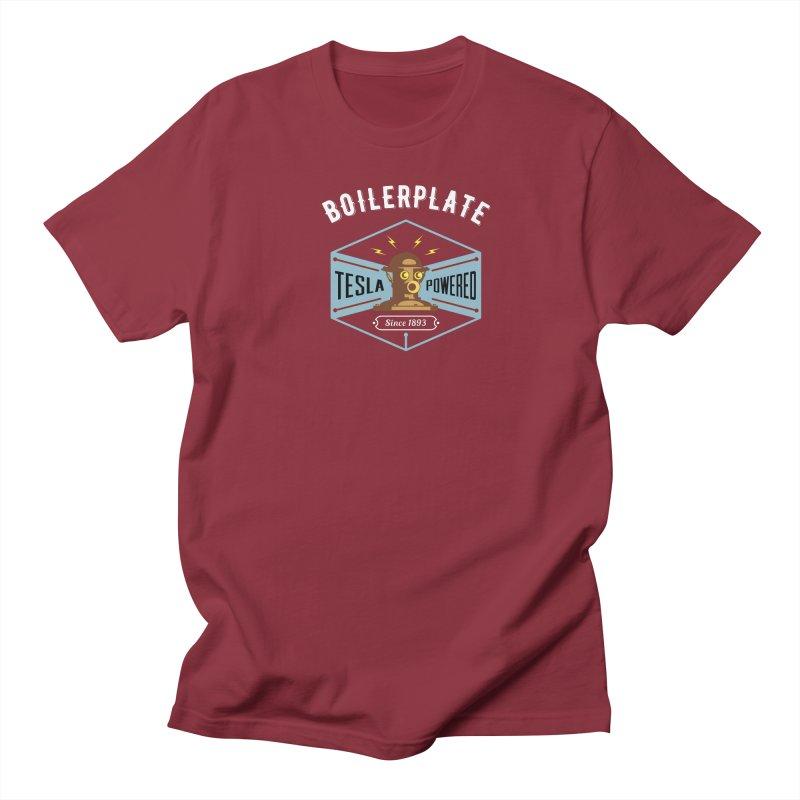 Boilerplate: Tesla Powered Since 1893 Men's Regular T-Shirt by Big Red Hair's Artist Shop