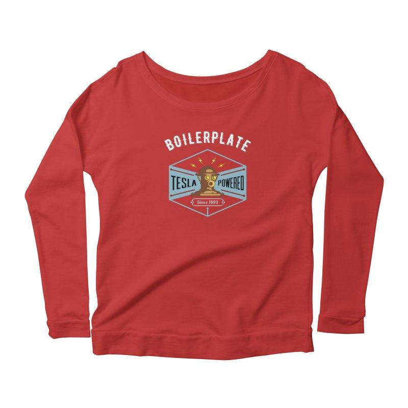 Boilerplate: Tesla Powered Since 1893 Women's Scoop Neck Longsleeve T-Shirt by Big Red Hair's Artist Shop