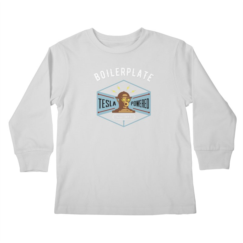 Boilerplate: Tesla Powered Since 1893 Kids Longsleeve T-Shirt by Big Red Hair's Artist Shop