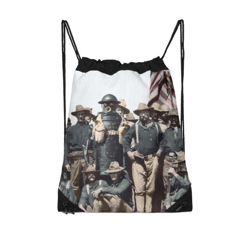 Boilerplate and the Rough Riders Accessories Drawstring Bag Bag by Big Red Hair's Artist Shop