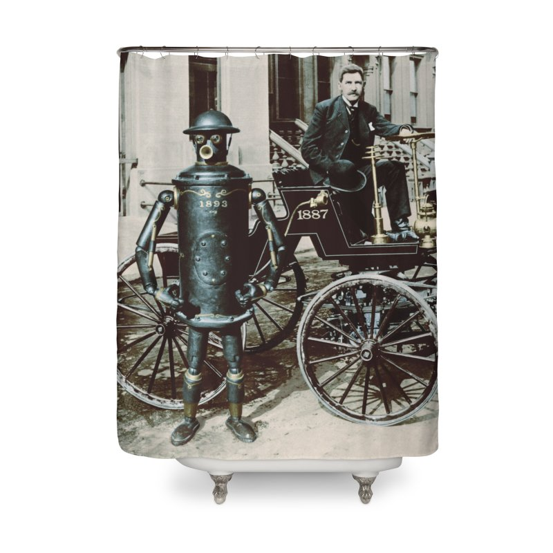 Boilerplate and Its Inventor Home Shower Curtain by Big Red Hair's Artist Shop