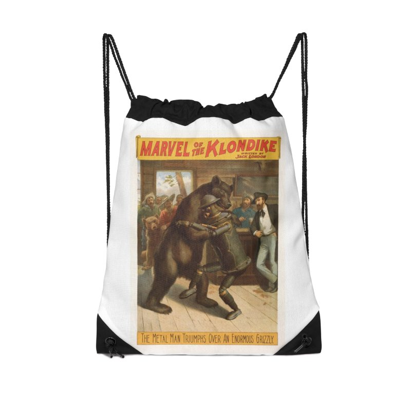 Boilerplate Wrestles a Grizzly Accessories Drawstring Bag Bag by Big Red Hair's Artist Shop