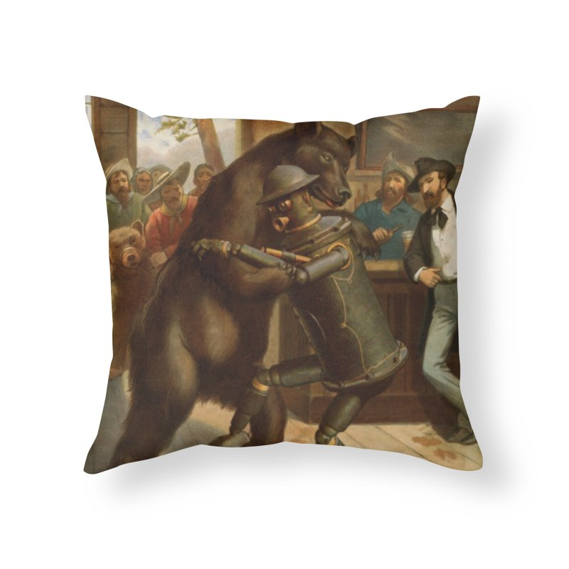 Boilerplate Wrestles a Grizzly Home Throw Pillow by Big Red Hair's Artist Shop