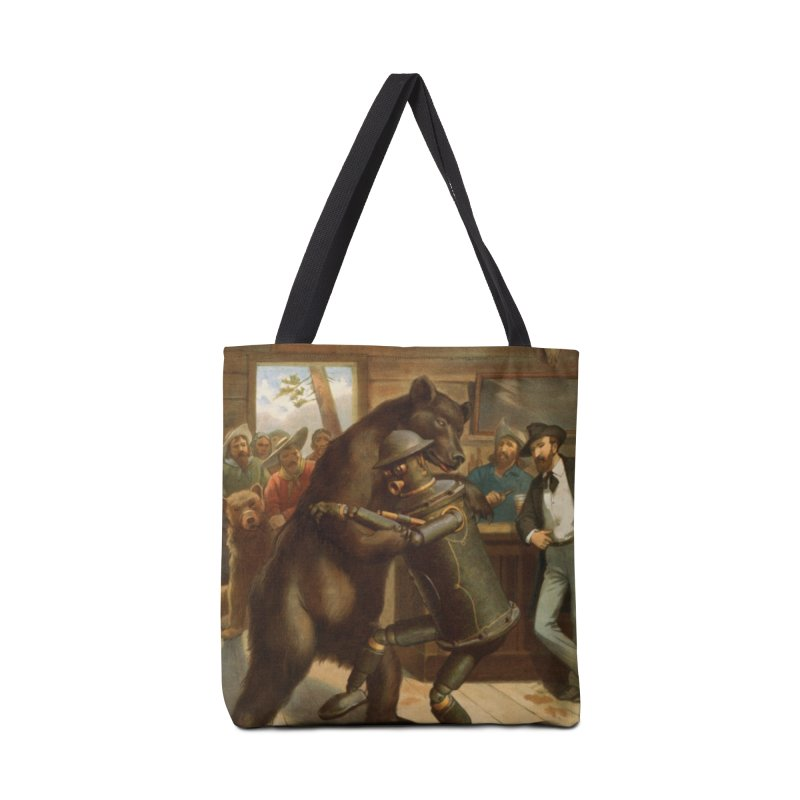 Boilerplate Wrestles a Grizzly Accessories Tote Bag Bag by Big Red Hair's Artist Shop