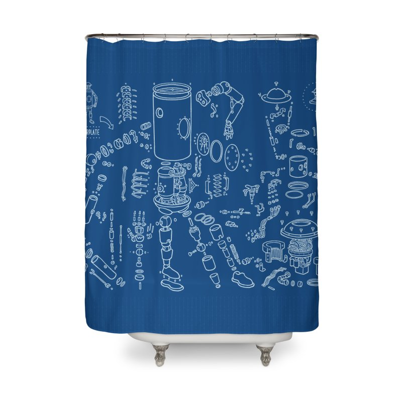 Boilerplate Robot Diagram (Partial) Home Shower Curtain by Big Red Hair's Artist Shop