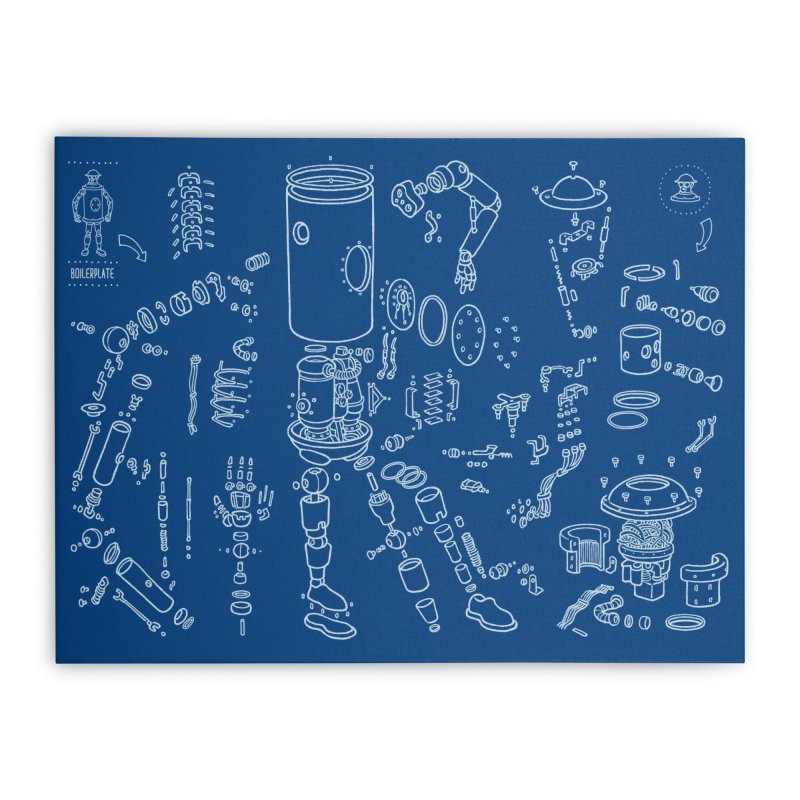 Boilerplate Robot Diagram (Partial) Home Stretched Canvas by Big Red Hair's Artist Shop