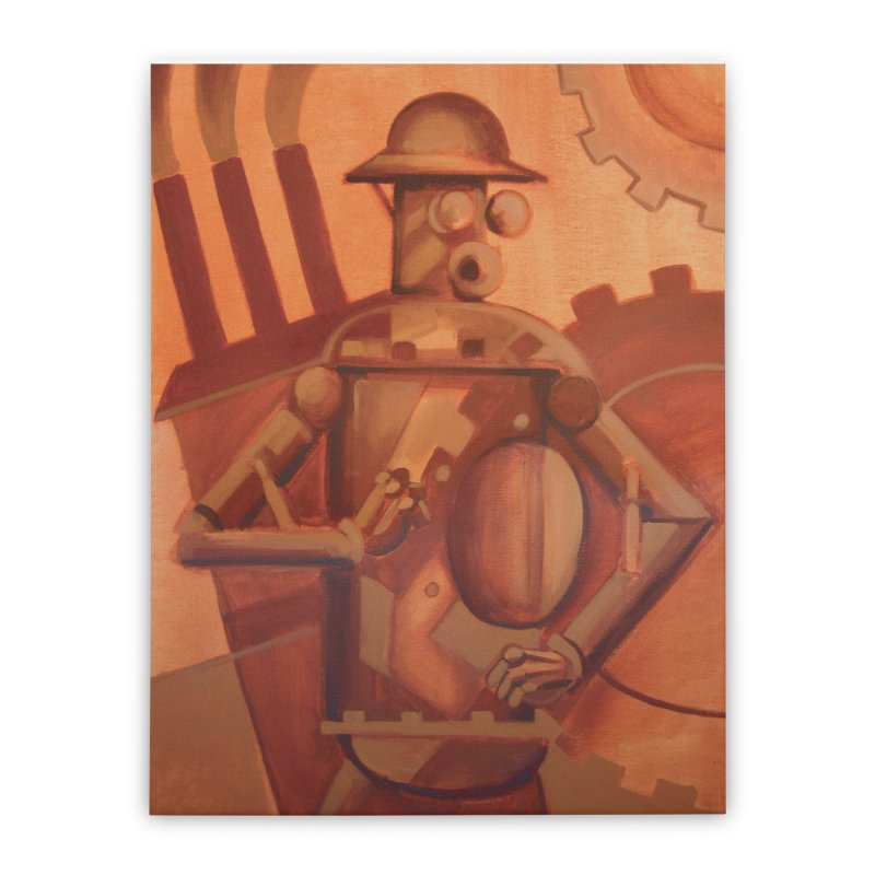Boilerplate Industrial Painting Home Stretched Canvas by Big Red Hair's Artist Shop