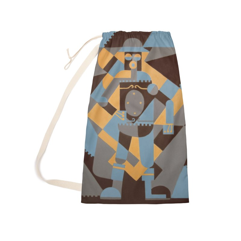 Boilerplate Robot Cubist Painting Accessories Bag by Big Red Hair's Artist Shop