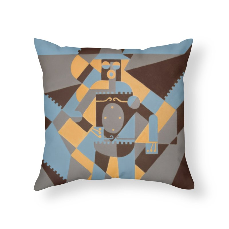 Boilerplate Robot Cubist Painting Home Throw Pillow by Big Red Hair's Artist Shop