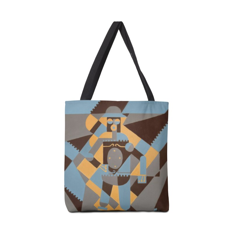 Boilerplate Robot Cubist Painting Accessories Tote Bag Bag by Big Red Hair's Artist Shop