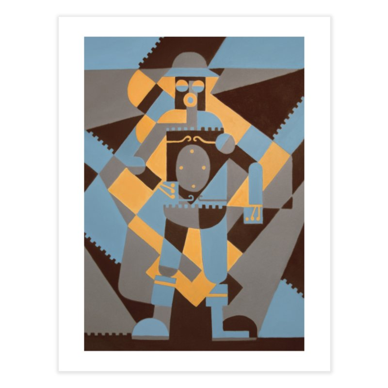 Boilerplate Robot Cubist Painting Home Fine Art Print by Big Red Hair's Artist Shop