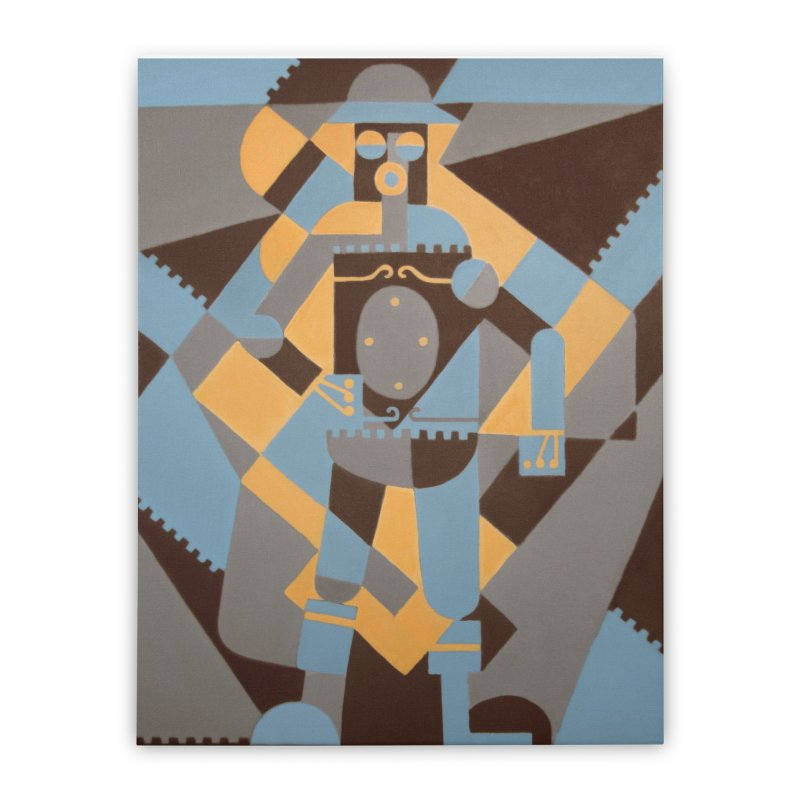 Boilerplate Robot Cubist Painting Home Stretched Canvas by Big Red Hair's Artist Shop