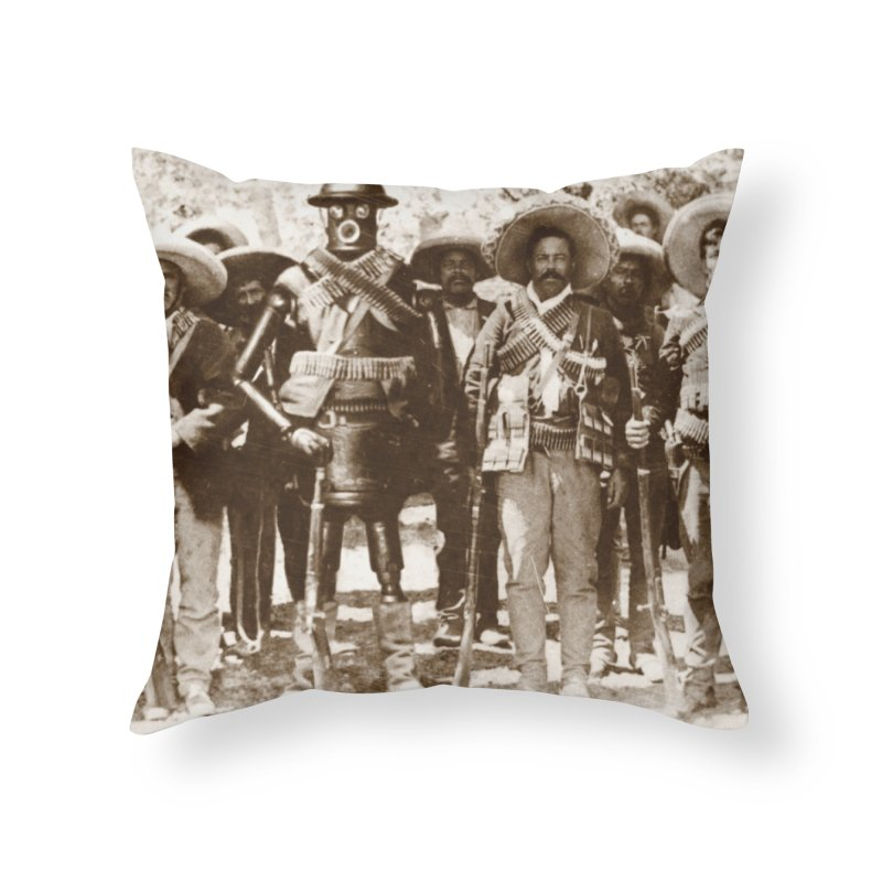 Boilerplate and Pancho Villa Home Throw Pillow by Big Red Hair's Artist Shop