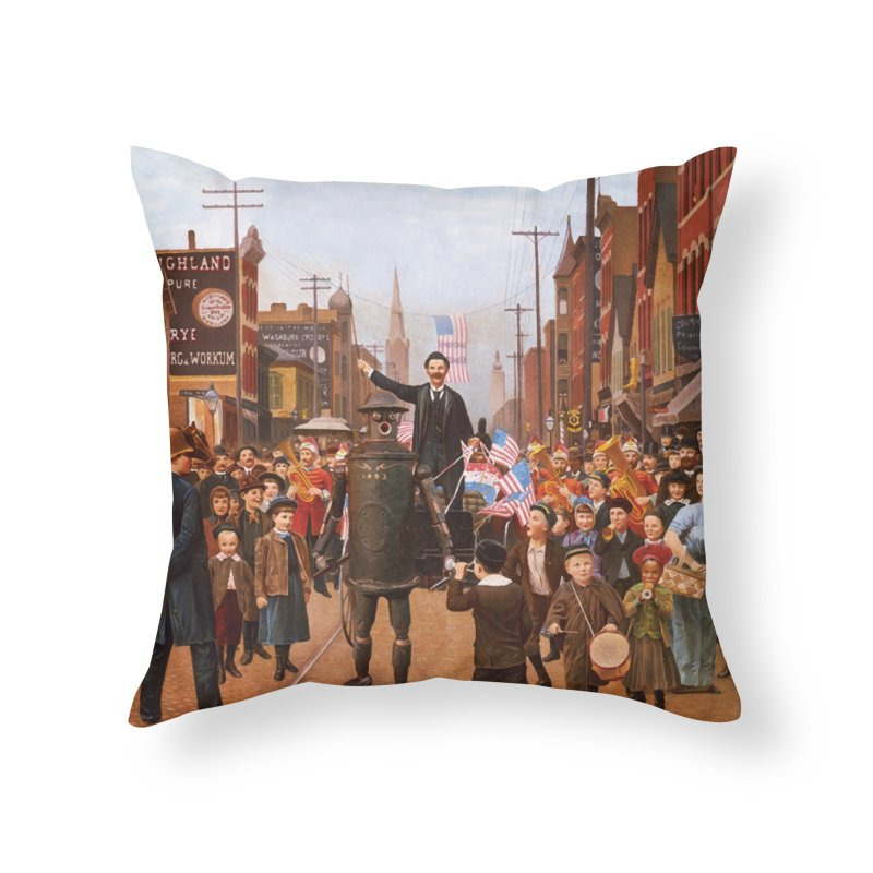 Boilerplate and the Presidential Parade Home Throw Pillow by Big Red Hair's Artist Shop