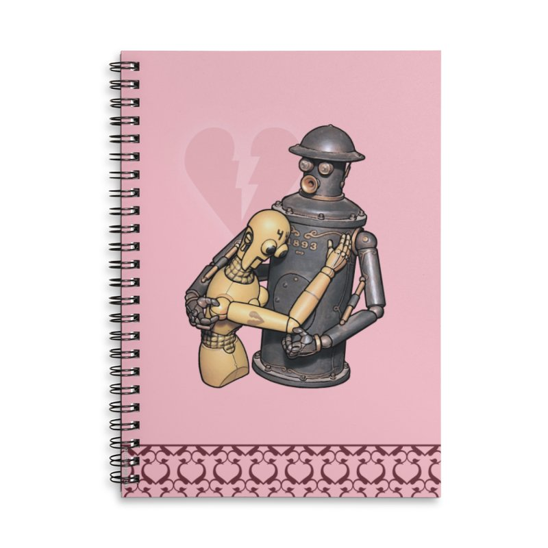 Boilerplate: Robot Romance Accessories Lined Spiral Notebook by Big Red Hair's Artist Shop