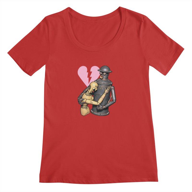 Boilerplate: Robot Romance Women's Regular Scoop Neck by Big Red Hair's Artist Shop