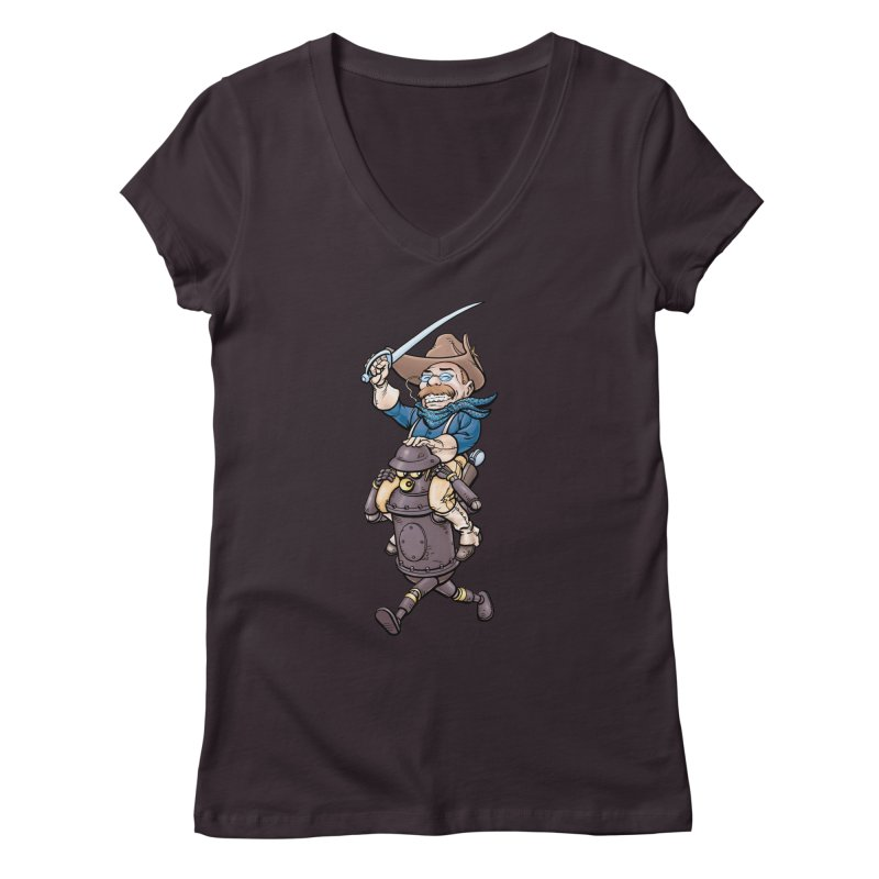 Boilerplate Takes T.R. for a Ride Women's Regular V-Neck by Big Red Hair's Artist Shop