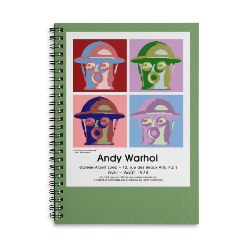 Boilerplate After Andy Warhol Accessories Lined Spiral Notebook by Big Red Hair's Artist Shop
