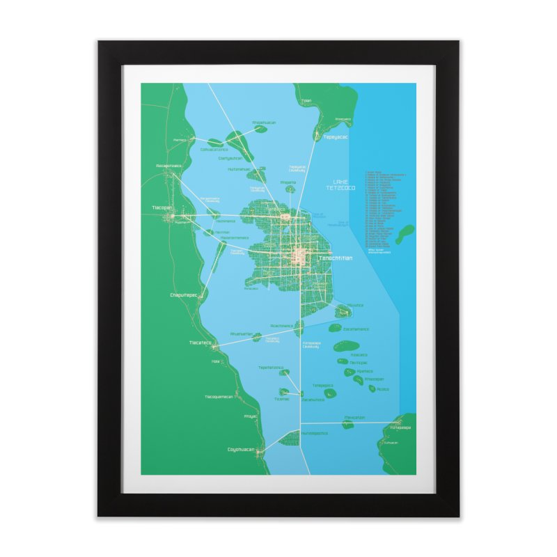 Aztec Empire Tenochtitlan Map Home Framed Fine Art Print by Big Red Hair's Artist Shop