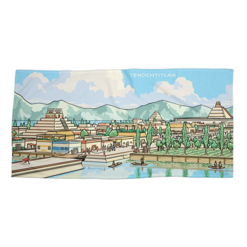 Tenochtitlan Accessories Beach Towel by Big Red Hair's Artist Shop