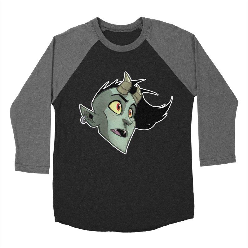 Demon Head Men's Baseball Triblend Longsleeve T-Shirt by Billy Martin's Artist Shop