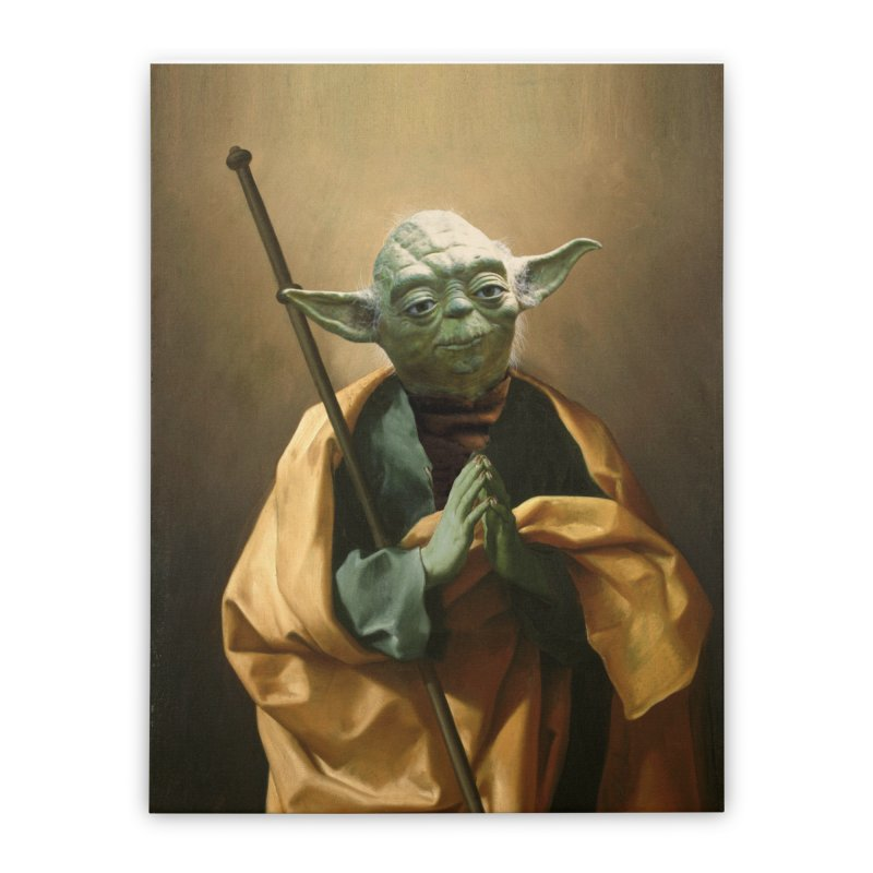 Saint Yoda Home Stretched Canvas by BIZ SHAW