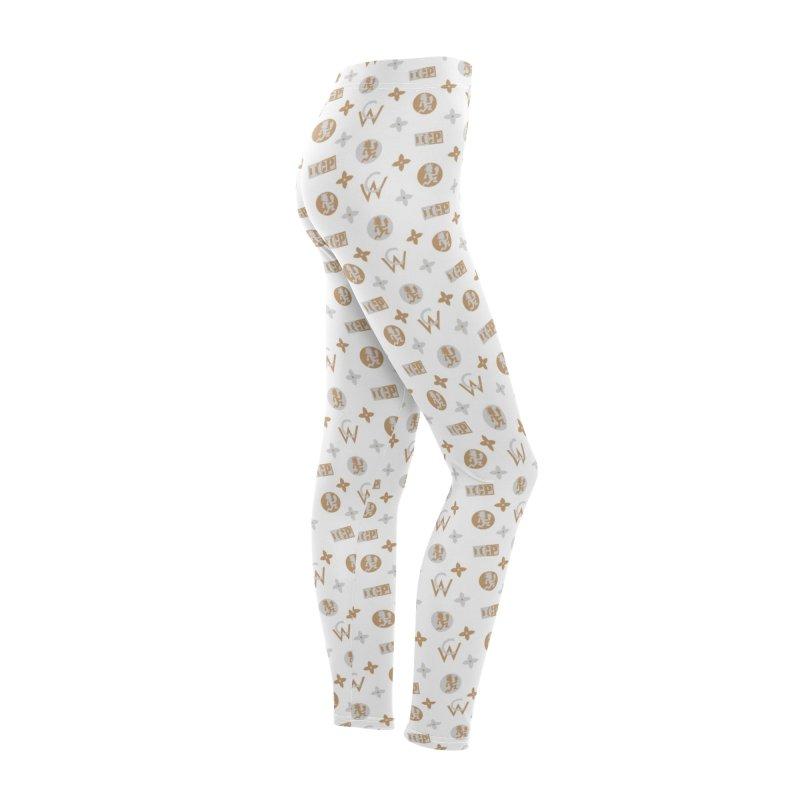 Gold - Wicked Clown Vuitton - White Women's Bottoms by BIZ SHAW