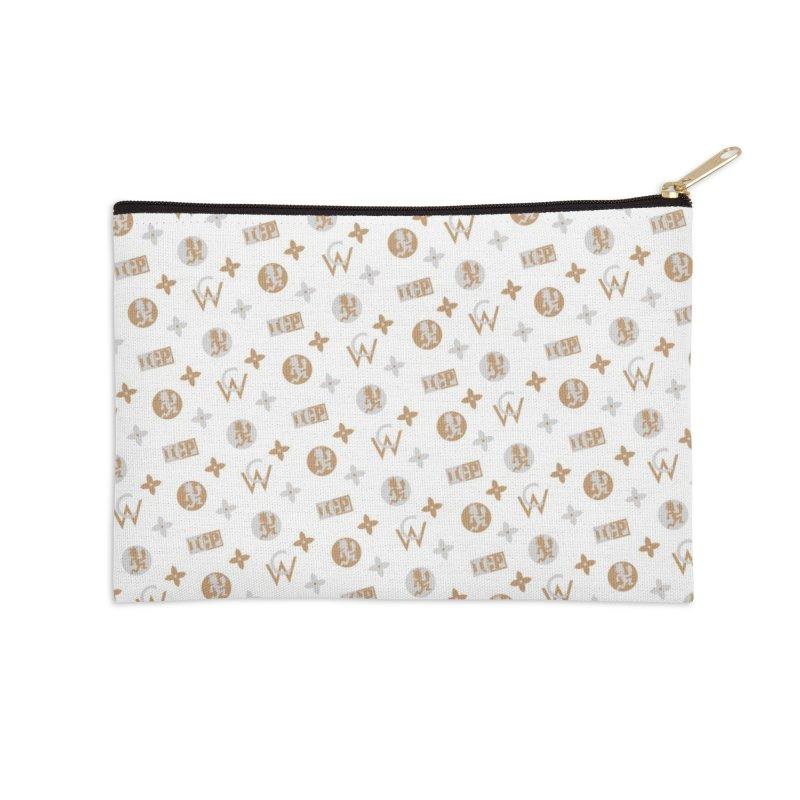Gold - Wicked Clown Vuitton - White Accessories Zip Pouch by BIZ SHAW