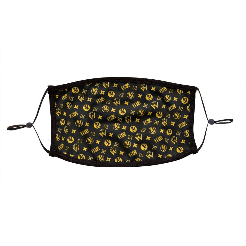 RM - Wicked Clown Louis Vuitton - Black Accessories Face Mask by BIZ SHAW