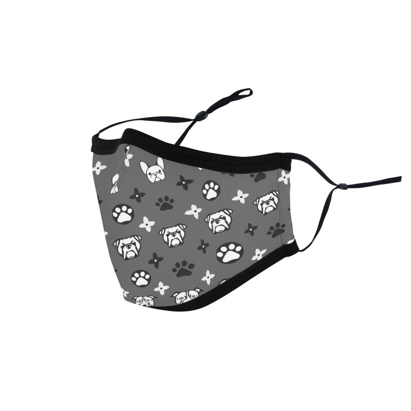 Kiki Puppy Vuitton - Grayscale Accessories Face Mask by BIZ SHAW