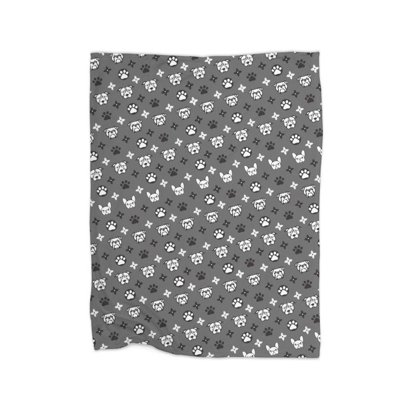 Kiki Puppy Vuitton - Grayscale Home Blanket by BIZ SHAW