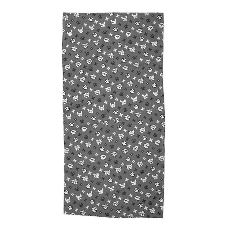 Kiki Puppy Vuitton - Grayscale Accessories Beach Towel by BIZ SHAW