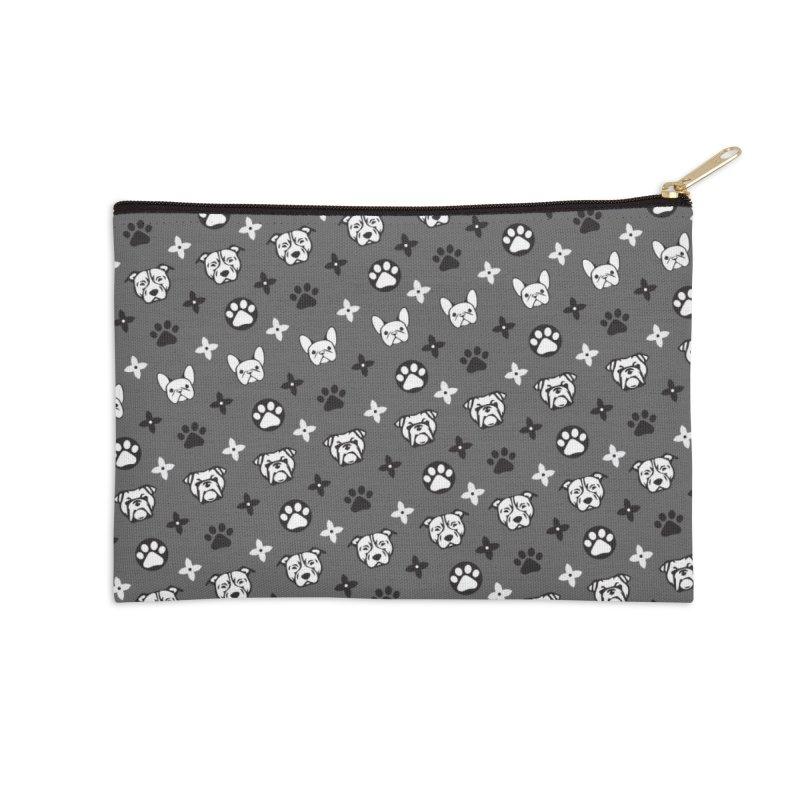 Kiki Puppy Vuitton - Grayscale Accessories Zip Pouch by BIZ SHAW