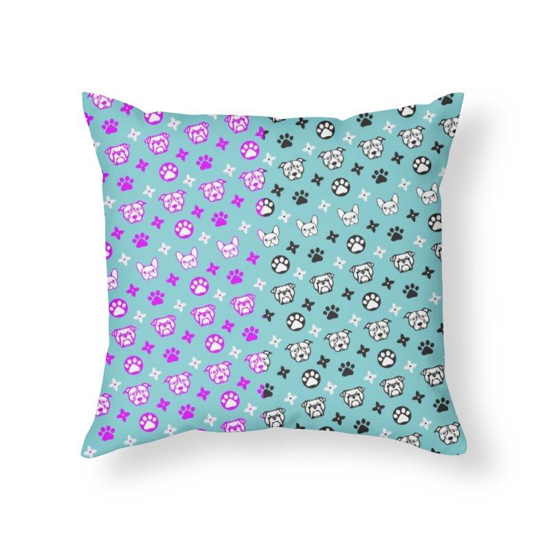 Kiki Puppy Vuitton - Split Color Home Throw Pillow by BIZ SHAW