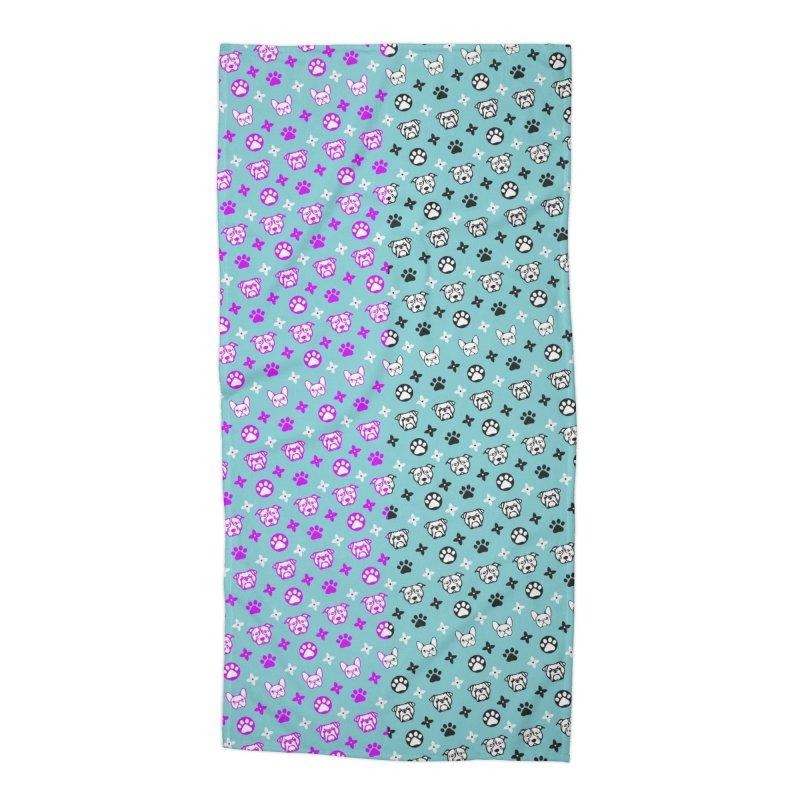 Kiki Puppy Vuitton - Split Color Accessories Beach Towel by BIZ SHAW