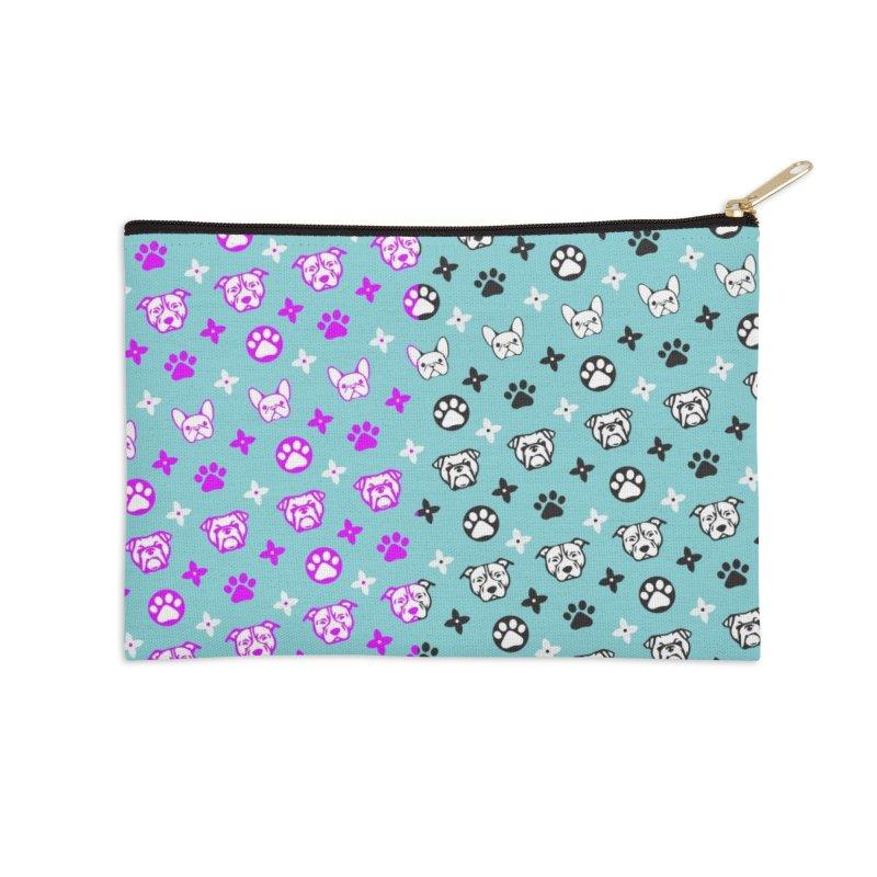 Kiki Puppy Vuitton - Split Color Accessories Zip Pouch by BIZ SHAW