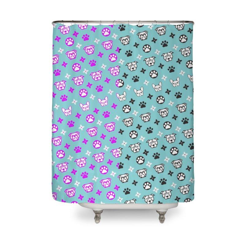 Kiki Puppy Vuitton - Split Color Home Shower Curtain by BIZ SHAW