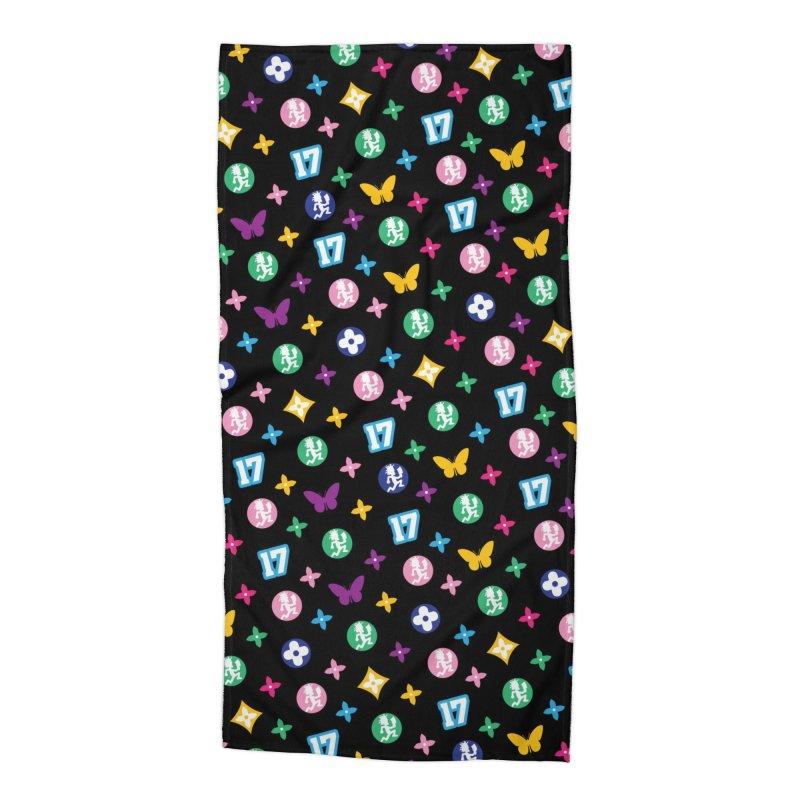 Wicked Vuitton Rainbow on Black Accessories Beach Towel by BIZ SHAW