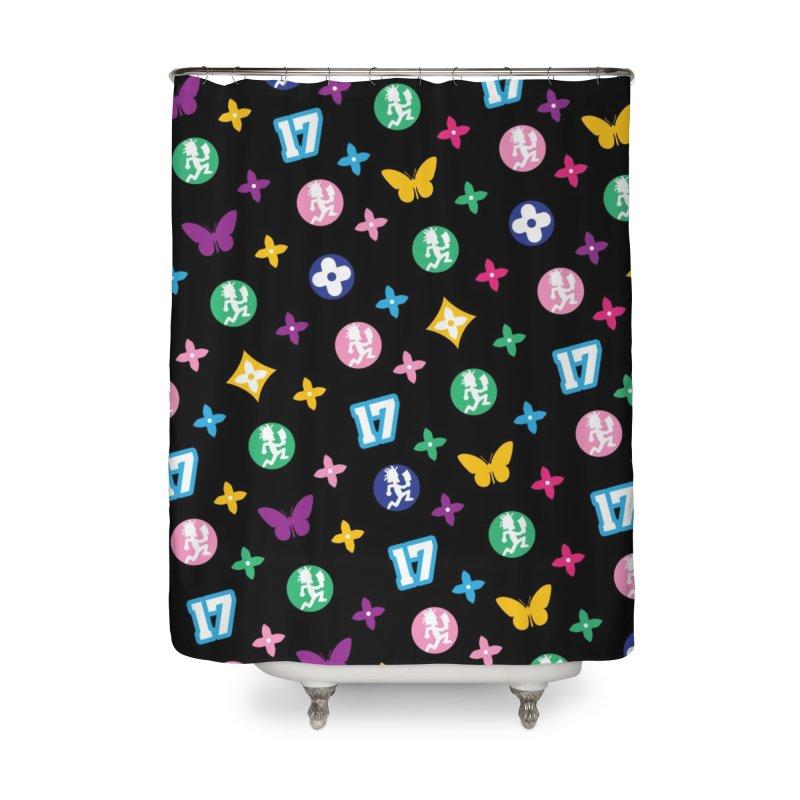 Wicked Vuitton Rainbow on Black Home Shower Curtain by BIZ SHAW